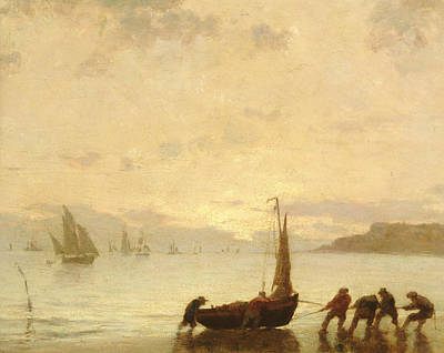 Fading Painting - Return From Fishing With Setting Sun by Eugene Louis Boudin