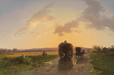Evening Glow Painting - Return From The Field In The Evening Glow by Ignaz Raffalt