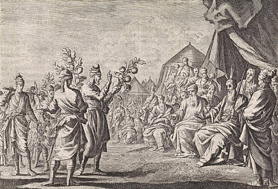 Grapes Drawing - Return Of The Scouts From Canaan, Jan Luyken by Jan Luyken And Pieter Mortier