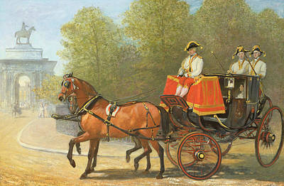 Shire Horse Painting - Returning From Her Majestys Drawing Room by Alfred Corbould