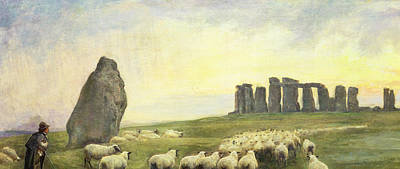 Country Setting Painting - Returning Home     Stonehenge by Edgar Barclay