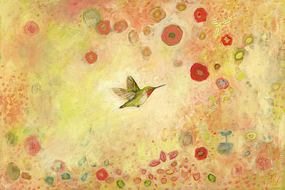 Hummingbirds Painting - Returning To Fairyland by Jennifer Lommers