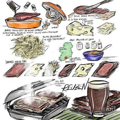 Cookbooks Drawing - Reuben Sandwich by Lisa Owen-Lynch