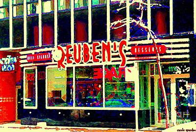Montreal Winter Scenes Painting - Reuben's Restaurant Delicatesen Steaks Desserts Urban Eateries Montreal Downtown Scenes C Spandau by Carole Spandau