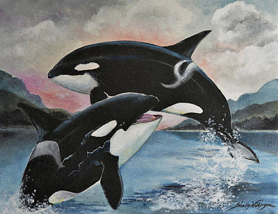 Orca Painting - Reunion by Shelly Wilkerson