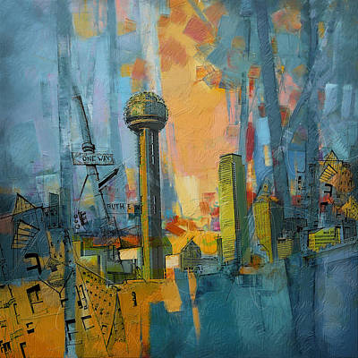 Dallas Painting - Reunion Tower by Corporate Art Task Force