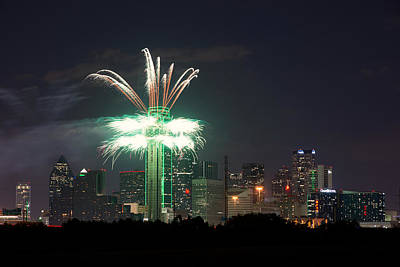 Dallas Skyline Photograph - Reunion Tower Fireworks Texas Ou Weekend 2014 by Rospotte Photography