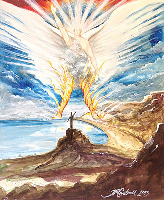 Revelation Drawing - Revelation 10 Angel by Ron Cantrell