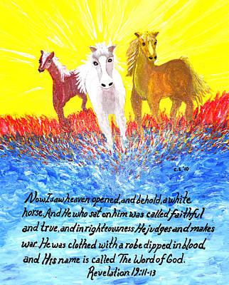 Saldana Painting - Revelation White Horse by Catherine Saldana