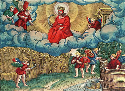 Wine Barrel Photograph - Revelations 1414 The Reaper, Vision Of Armageddon, From The Luther Bible, C.1530 Coloured Woodcut by German School