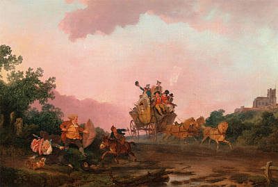 Coach Party Painting - Revellers On A Coach, Philippe-jacques De Loutherbourg by Litz Collection