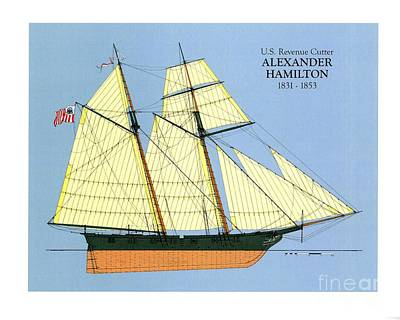 Uscg Drawing - Revenue Cutter Alexander Hamilton by Jerry McElroy - Public Domain Image