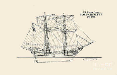Coast Guard Drawing - Revenue Cutter Massachusetts by Jerry McElroy - Public Domain Image