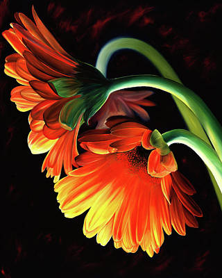 Gerber Daisy Painting - Reverence by Stephen Kenneth Hackley