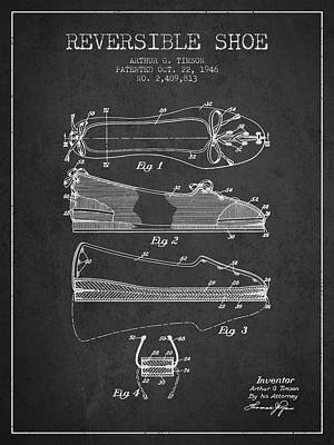 Footwear Digital Art - Reversible Shoe Patent From 1946 - Charcoal by Aged Pixel
