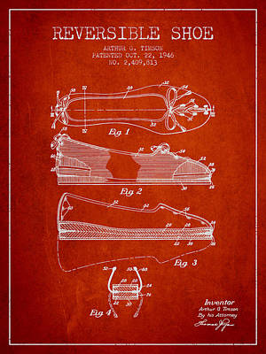 Reversible Shoe Patent From 1946 - Red Art Print by Aged Pixel