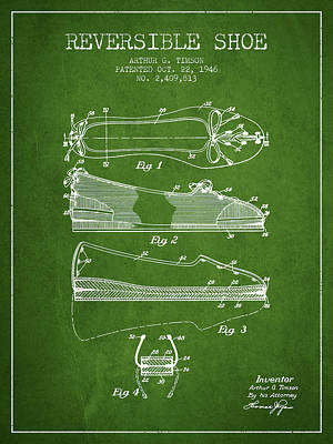 Reversible Shoe Patent From 1946 - Green Art Print by Aged Pixel