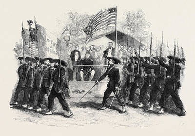 President Lincoln Drawing - Review Of Federal Troops On The 4th Of July By President by English School