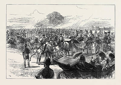 Review Of The Household Brigade By Queen Victoria In Bushey Print by English School