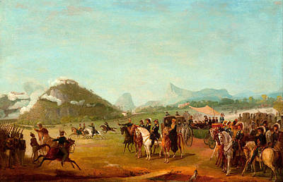 Soldier Field Painting - Review Of The Troops Headed For Montevideo At Praia Grande by Jean-Baptiste Debret