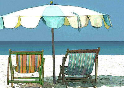 Sand Dunes Painting - Seaside Beach Umbrella And Chairs by Elaine Plesser