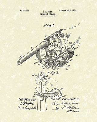 Drawing - Revolver 1901 Patent Art by Prior Art Design