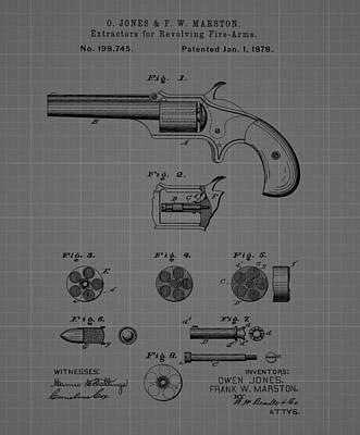 Revolver Firearm Patent Blueprint Drawing Art Print