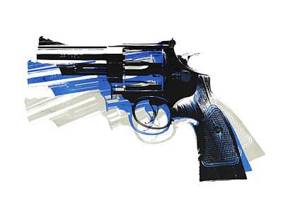Blues Digital Art - Revolver On White - Left Facing by Michael Tompsett