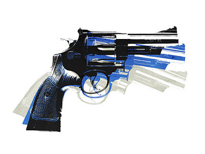 Blues Digital Art - Revolver On White - Right Facing by Michael Tompsett