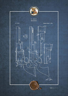 Digital Art - Revolver Patent 7613 By S. Colt - Vintage Patent Blueprint by Serge Averbukh