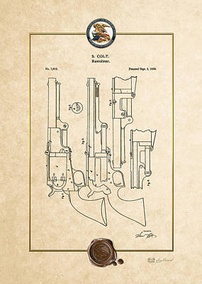 Digital Art - Revolver Patent 7613 By S. Colt - Vintage Patent Document by Serge Averbukh