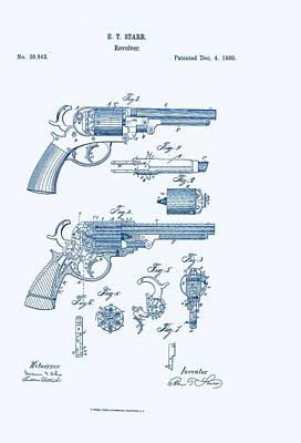 Revolver Patent E.t Starr Art Print by Georgia Fowler