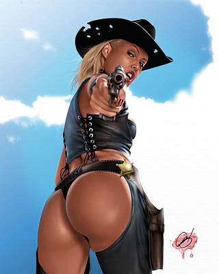 Cowboy Hat Drawing - Revolver by Pete Tapang