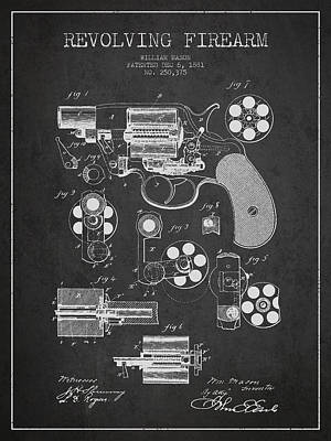 Digital Art - Revolving Firearm Patent Drawing From 1881 - Dark by Aged Pixel