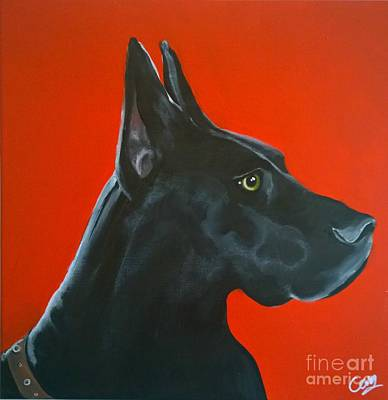 Painting - Rex The Doberman by Caroline Peacock