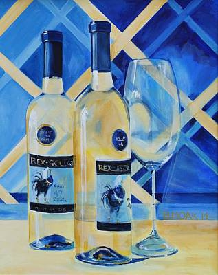 Wine Rack Painting - Rex With Wine Glass by Barbara Moak