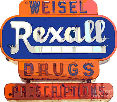 Signage Painting - Rexall Drugs by David Lloyd Glover