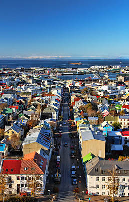Birds Eye View Photograph - Reykjavik Cityscape by Jasna Buncic
