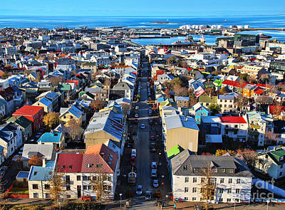 Blue Roof Photograph - Reykjavik Cityscape Panorama by Jasna Buncic