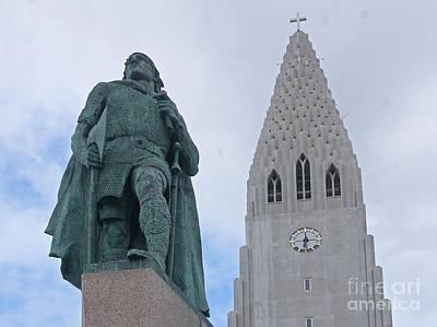 Photograph - Reykjavik Iceland Hallgrimskirkja And Leif Eriksson Monument by Rudi Prott