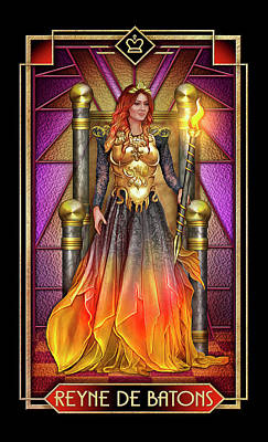 Tarot Wall Art - Drawing - Reyne De Baton by MGL Meiklejohn Graphics Licensing