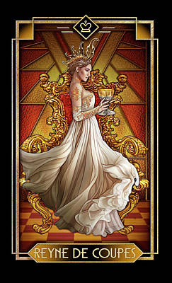 Tarot Wall Art - Drawing - Reyne De Coupe by MGL Meiklejohn Graphics Licensing