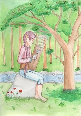 Trossingen Painting - Reynir Playing The Harp by Sjofn Snorradottir