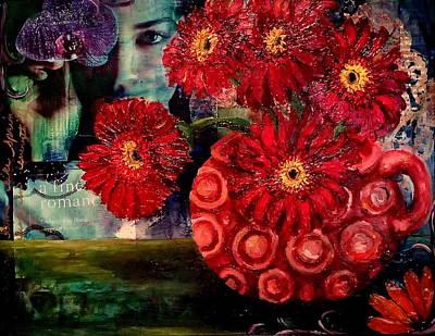 Gerber Daisy Mixed Media - Rhapsody In Red by Katrina Rasmussen
