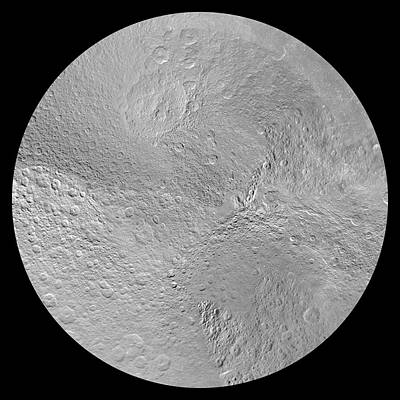 Cassini Photograph - Rhea's North Pole by Nasa/jpl-caltech/space Science Institute