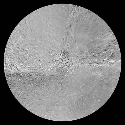 Voyager Photograph - Rhea's South Pole by Nasa/jpl-caltech/space Science Institute