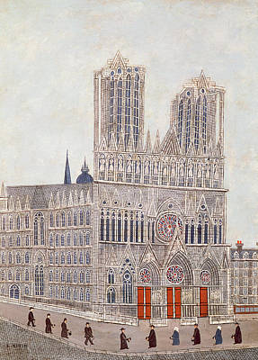 Portal Photograph - Rheims Cathedral, C.1923 Oil On Canvas by Louis Vivin