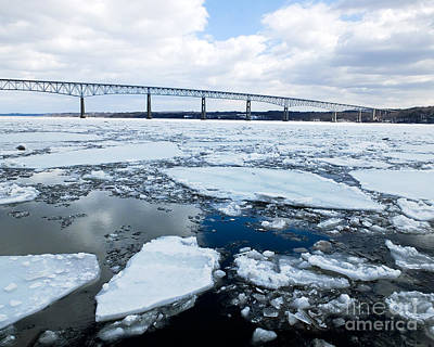 Photograph - Rhinecliff Bridge Over The Icy Hudson River by Kristen Fox