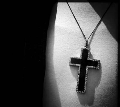 Rhinestone Cross Pendant On White Sweater Original by David Litschel