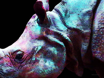 Rhinoceros Painting - Rhino 1 - Rhinoceros Art Prints by Sharon Cummings